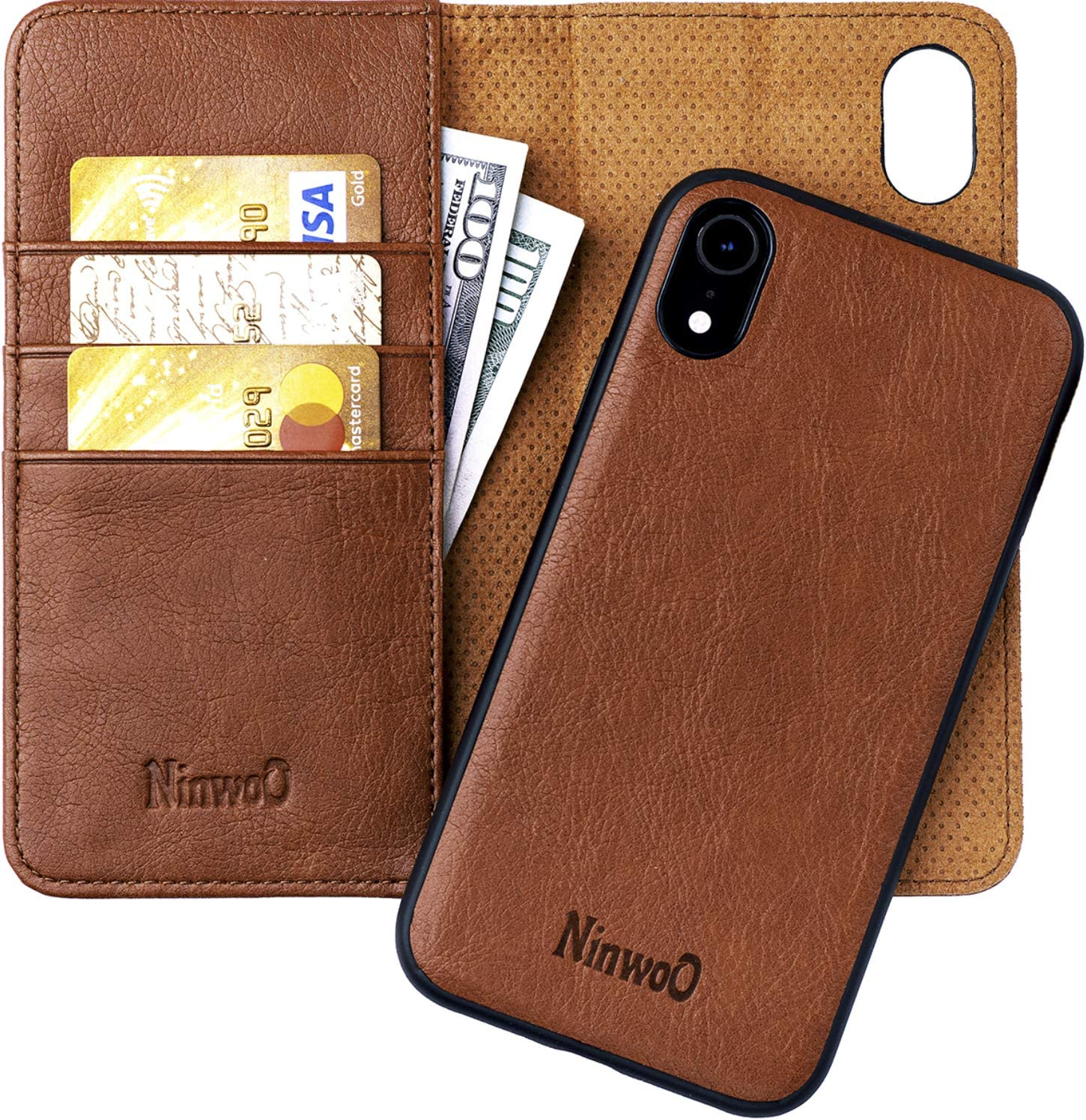 NINWOO iPhone XR Leather Wallet Case - Detachable Magnetic Shock-Proof TPU Mobile Cell Phone Case - Best 2-in-1 Folio Flip Cover Credit and ID Cards Slots for Apple iPhone XR 6.1 Inch Brown
