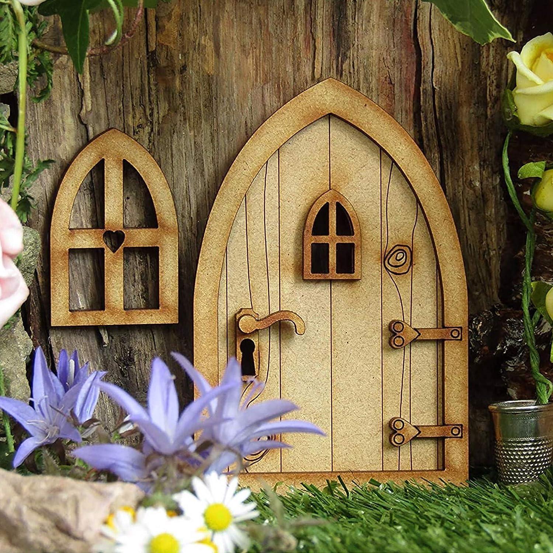 Miniature Fairy Gnome Home Door and Windows, Fairy Garden Door Windows for Trees Decoration, Yard Art Garden Sculpture Lawn Ornament Decoration