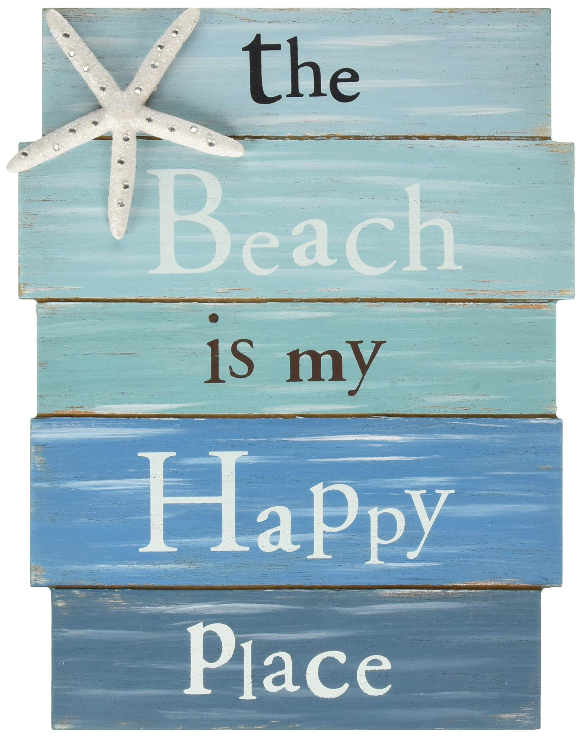 Grasslands Road Wall Starfish GR Beach is My Happy Place Plaque, Medium, White, Blue by Grasslands Road