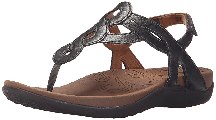 Rockport Cobb Hill Women's Ramona-CH Flat Sandal, Pewter, 9 M US best supportive sandals for women