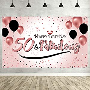 50th Birthday Black Gold Party Decoration, Extra Large Fabric Black Gold Sign Poster for 50th Anniversary Photo Booth Backdrop Background Banner, 50th Birthday Party Supplies (Style A)