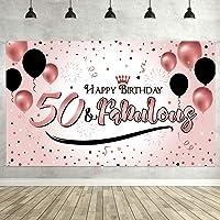 Blulu Decoración de Fiesta de 50 Cumpleaños, Póster de Señal de Tela Extra Grande para 50 Aniversario Fondo de Foto…