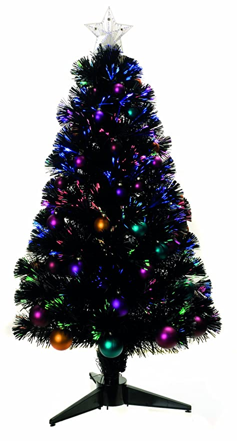 UK-G 3ft Black Pre-Decorated Fibre Optic Artificial Christmas Tree with  Multi- - UK-G 3ft Black Pre-Decorated Fibre Optic Artificial Christmas Tree