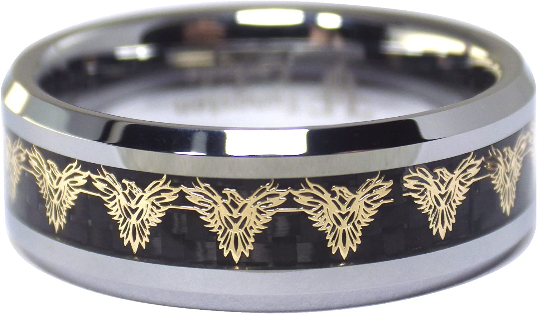 Fantasy Forge Jewelry Gold Phoenix Firebird Black Carbon Fiber Tungsten Ring Mens Womens 8mm Wedding Band Size 5-17