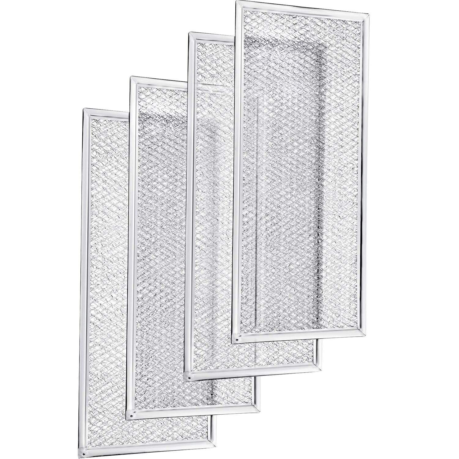 4 Pack W10208631A Microwave Filters Aluminum Mesh Microwave Oven Grease Filter Microwave Replacement for W10208631, W10208631RP, AP5617368, 2304686, AH3650910, EA3650910 (12-15/16 x 5-3/4 x 1/16 Inch)