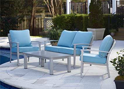 Cosco Outdoor 4 Piece Blue Veil Brushed Aluminum Patio Set With Coffee Table  And Light Blue