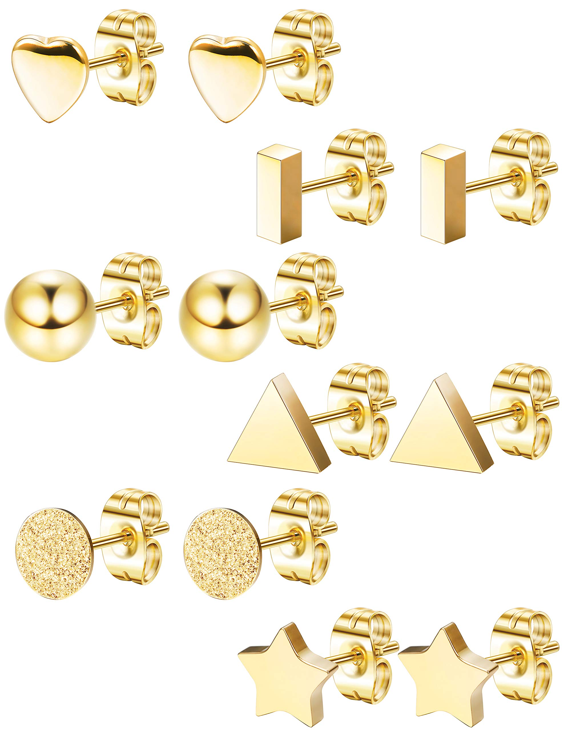 LOLIAS 6 Pairs Stainless Steel Stud Earrings Set for Women Girls Bar Heart Ball Star Triangle Ear Piercing,Gold by LOLIAS