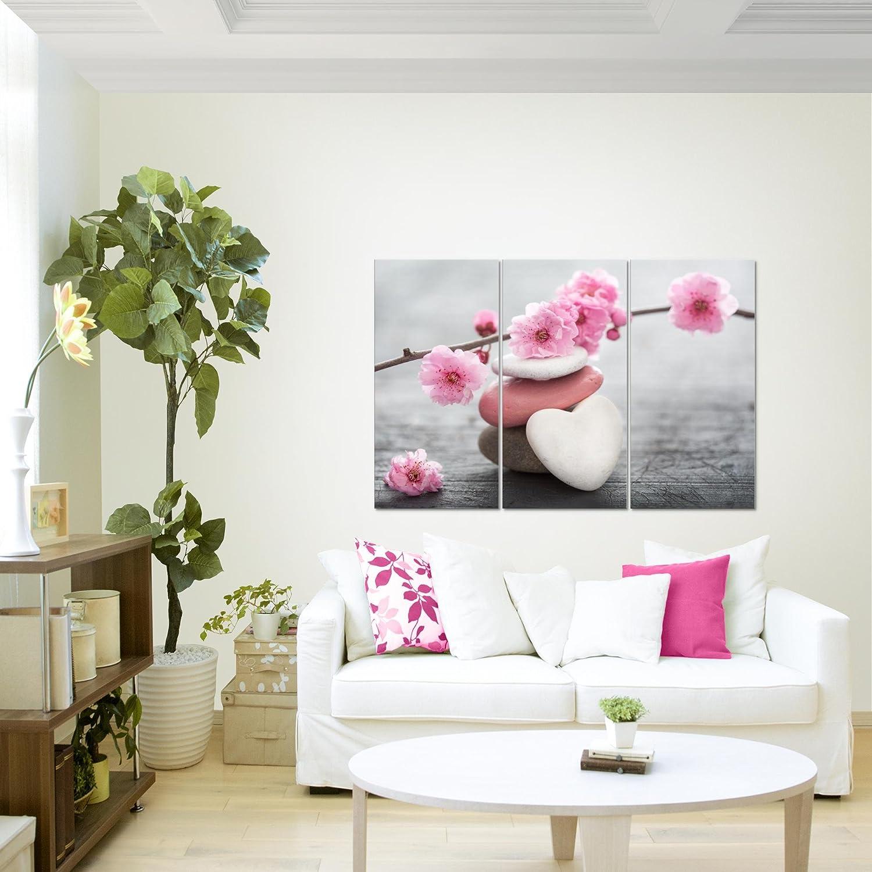 Bild Feng Shui Blumen Wandbild Vlies Fertig zum Aufh/ängen 500114c MADE IN GERMANY Leinwand Bilder XXL Format Wandbilder Wohnzimmer Wohnung Deko Kunstdrucke Blau Grau 1 Teilig