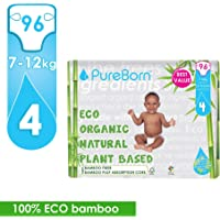 PureBorn Star Diapers, Size 4, Single Nappy Pack - 7 - 12 kg, 96 Count