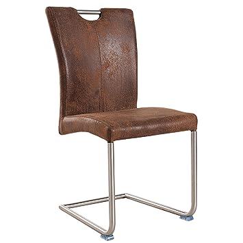 Freischwinger Stuhl Buffalo Vintage Coffee Braun Mit Edelstahl Gestell Freischwingerstuhl Esszimmer
