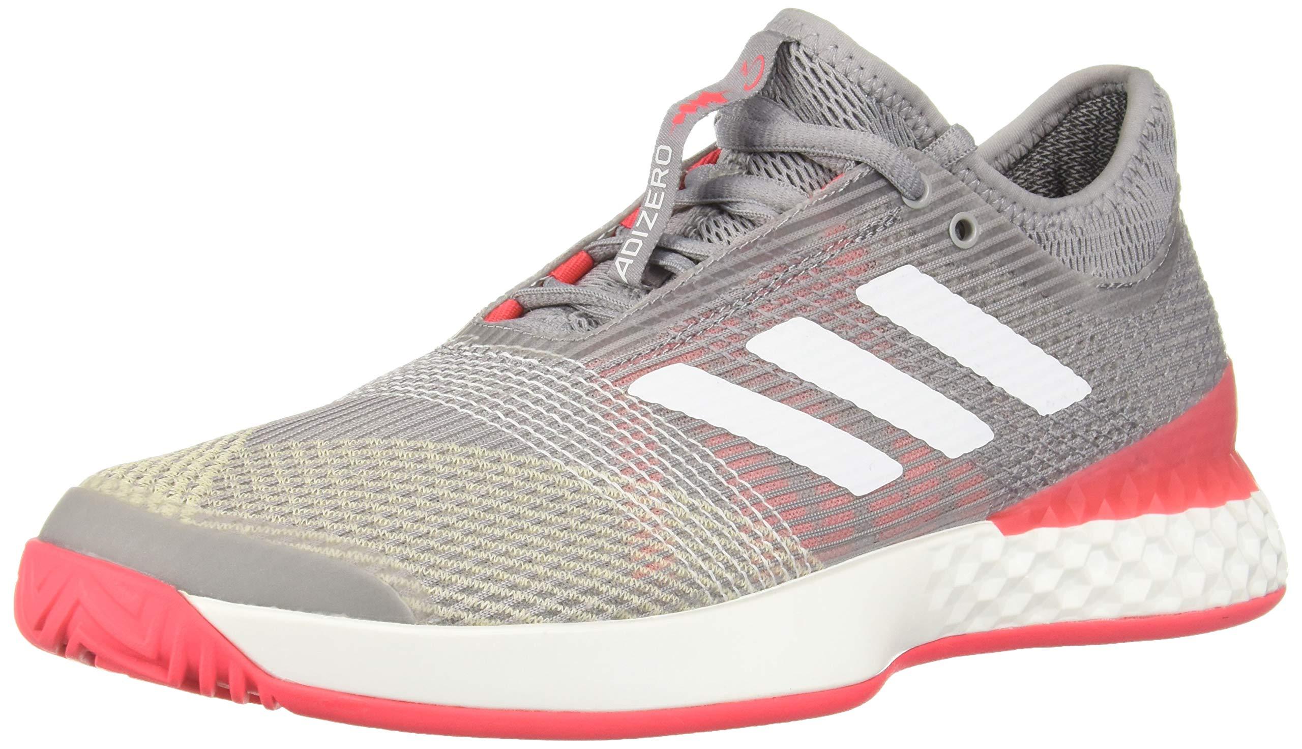 adidas Men's Adizero Ubersonic 3, Light Granite/White/Shock red 6.5 M US