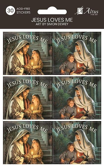 Amazon com: Simon Dewey Jesus Loves Me Sticker Pack- 30, 3x3 Acid