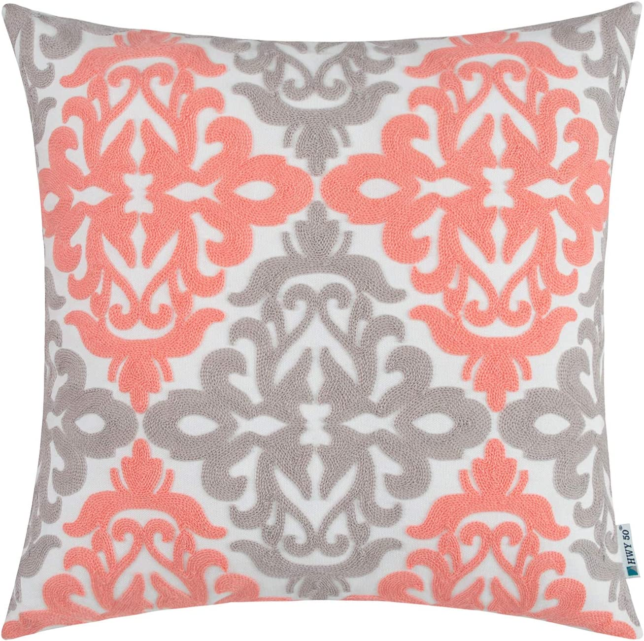 HWY 50 Coral Pink Grey Decorative Embroidered Throw Pillow Covers Cushion Cases for Couch Sofa Living Room 18 x 18 inch Accent Rustic Geometric 1 Piece