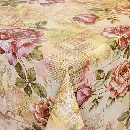 Hule mesa mantel de hule lavable rosas en beige Longitud a Elegir ...
