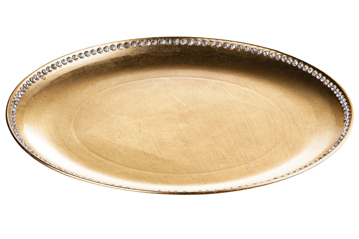 Premier Housewares Coupe Charger Plate With Diamante Edge, 33 Cm  Gold  Radiance