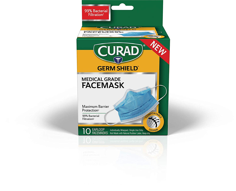 Curad Antiviral Face Mask, 10 Count
