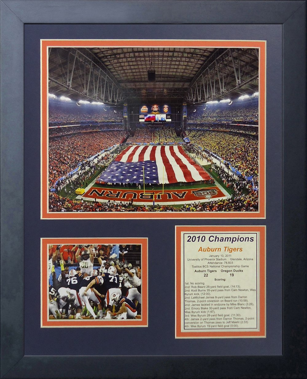"Legends Never Die ""Auburn University Tigers 2010 Champs Framed Photo Collage, 11 x 14-Inch 12049U"
