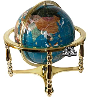 Amazon unique art 21 inch by 13 inch blue lapis ocean table unique art 21 inch tall turquoise ocean table top gemstone world globe with 4 leg gumiabroncs Image collections