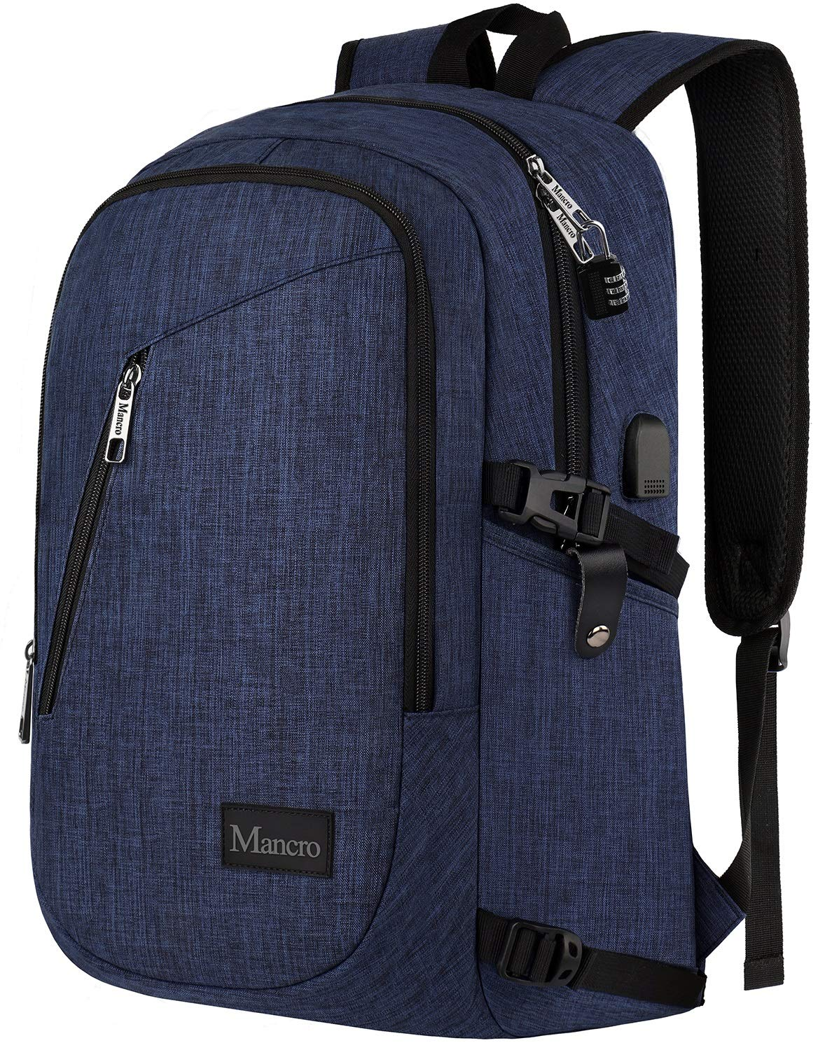 College Backpack, Business Slim Laptop Backpack, Mancro Anti-Theft Water Resistant Computer Backpack w/USB Charging Port, Lightweight Travel Bag Fit 15.6 Inch Laptops & Tablets in Dark Indigo by Mancro