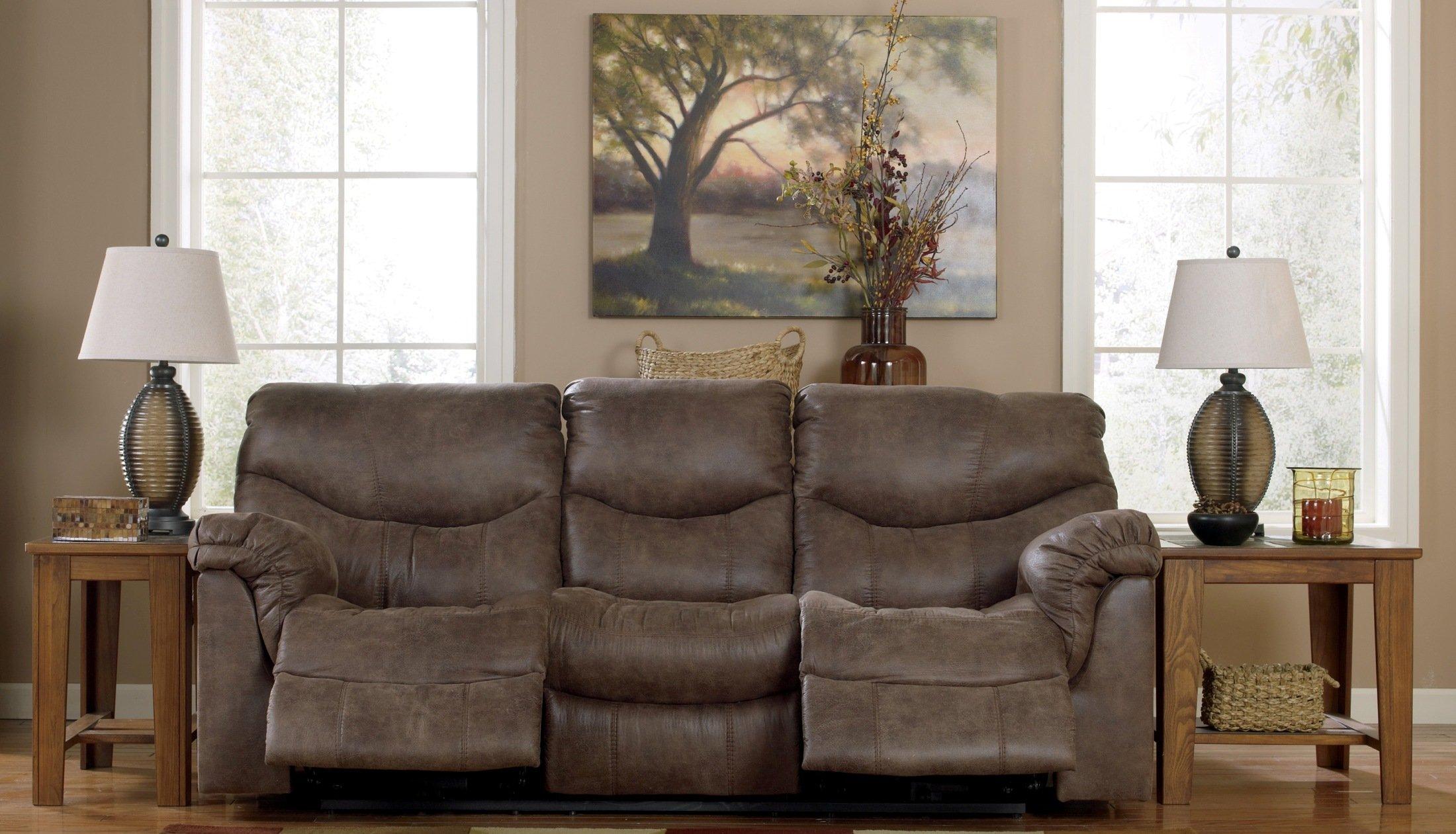 Ashley Furniture Signature Design - Alzena Recliner Sofa - 1 Touch Powered Reclining - Contemporary - Gunsmoke