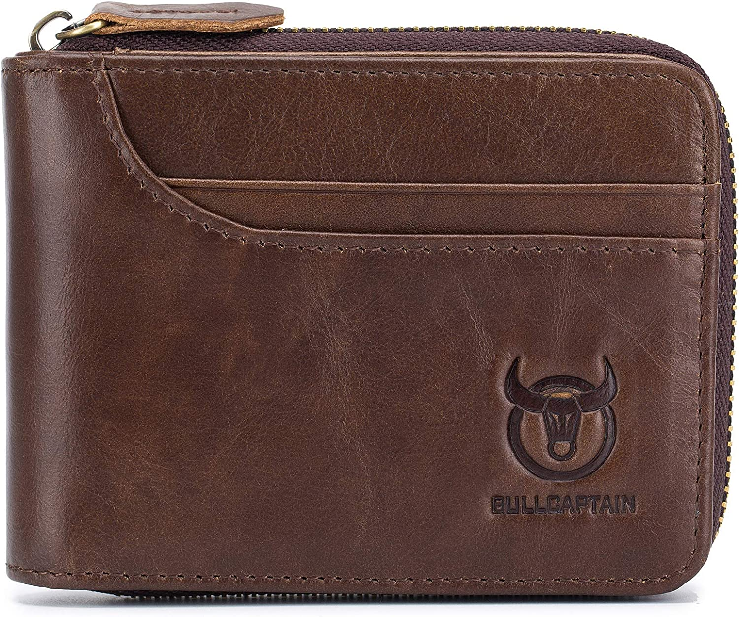 Brown Bull Captain Mens Genuine Leather Wallet,RFID Blocking Short Zip Around Bifold Purse Vintage Multi Secure Card Holder with ID Window