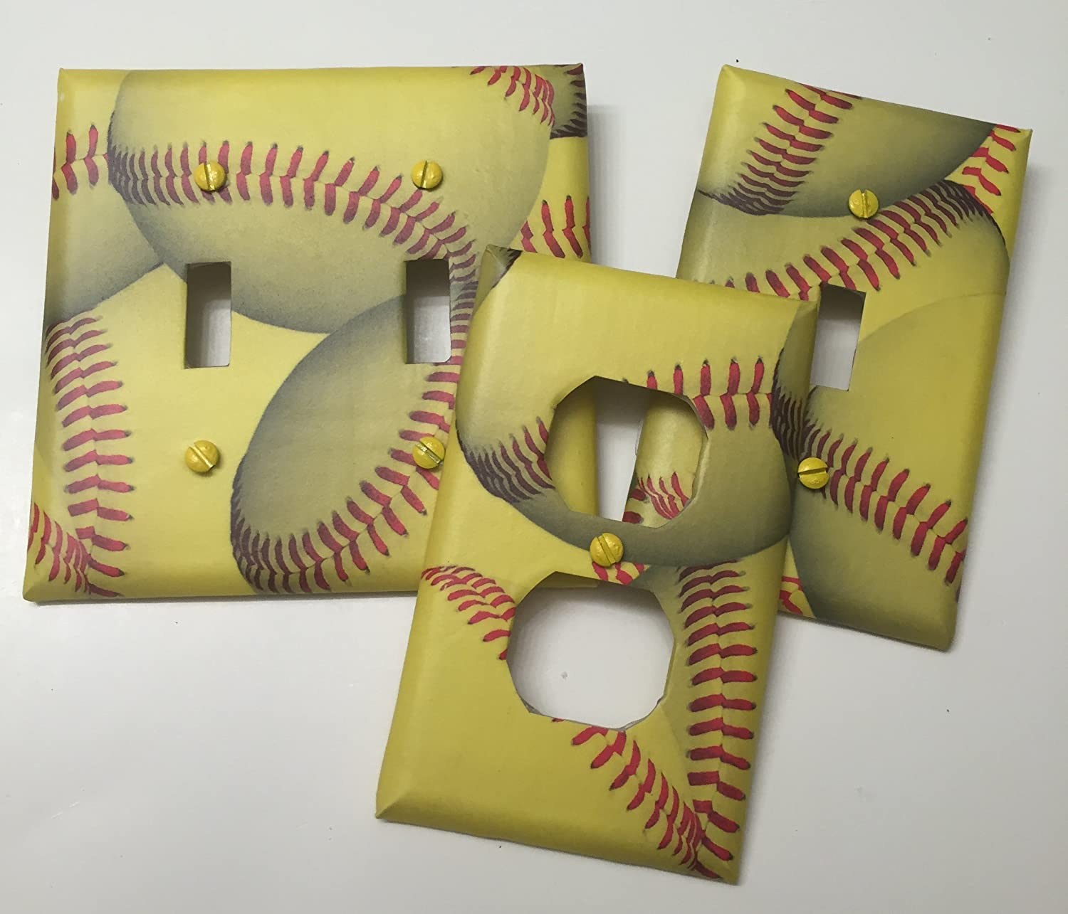 Softball sport, boys girls, teen room, playroom, light plate cover, light switch plate, outlet cover, outlet plate, home decor, wall art