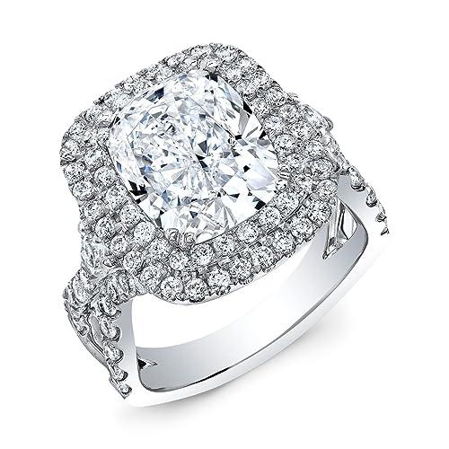 Amazon.com: Mansión de diamante doble corte cojín Natural ...