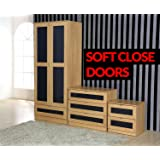 Mito PREMIUM High Gloss 3 Piece Bedroom Furniture Set - 1 Drawer Wardrobe, 3 Drawer Chest, 2 Drawer Bedside Cabinet (Oak/Grey)