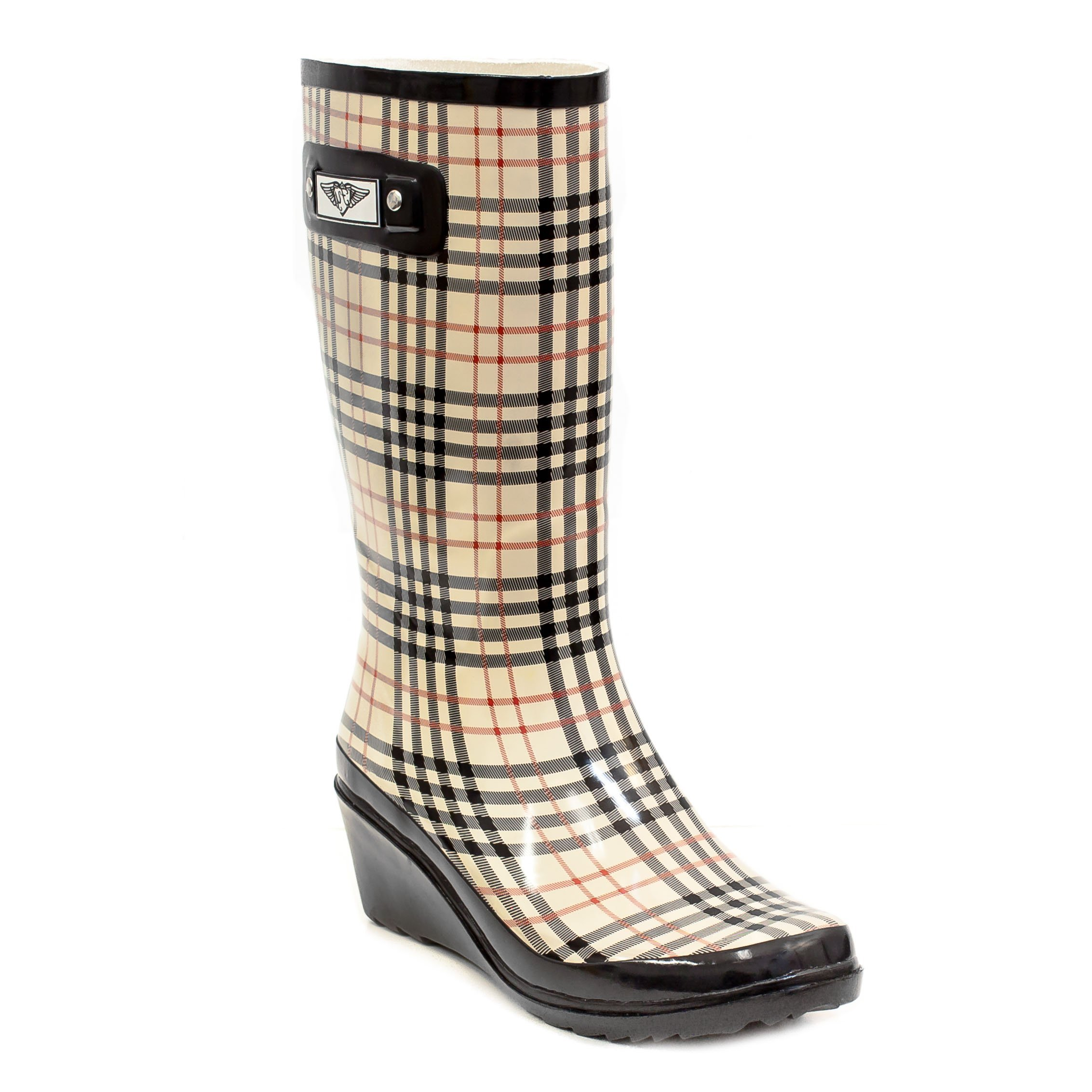 Women Cotton Lined Rubber Rain Boots w/ Wedge Heel (Checkers Plaid,7)