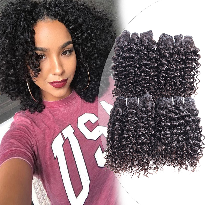 Amazon Curly Human Hair 4 Bundles Natural Black 100