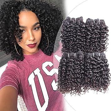 Curly Human Hair 4 Bundles Natural Black 100 Unprocessed Human Remy Hair Short Kinky Salon Curly Hair Weave Brazilian Virgin Hair 200gram Lot 10 10