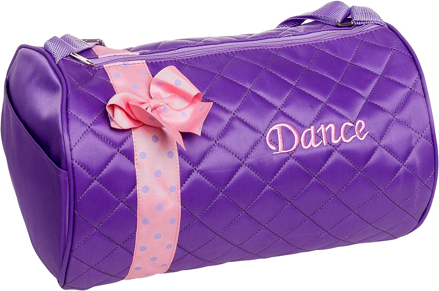 Silver Lilly Girls Dance Bag Quilted Duffle Bag w//Bow Black