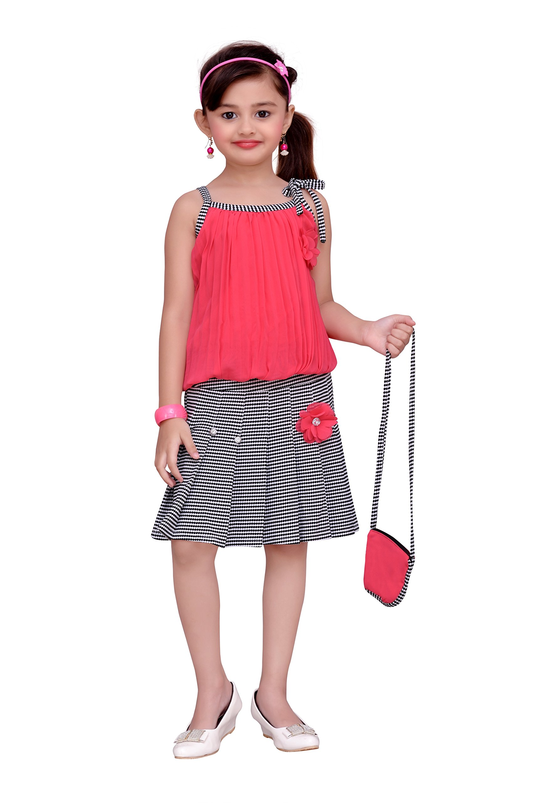 ADIVA Girl's Indian Party Wear Skirt Top Dress Clothing Set for Kids (G-1122-RANI-40)