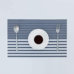SUNSHINE FASHION Placemats,Placemats for Dining Table,Heat-Resistant Placemats, Washable PVC Table Mats,Kitchen Table mats.Set of 4 (Strip-Navy)