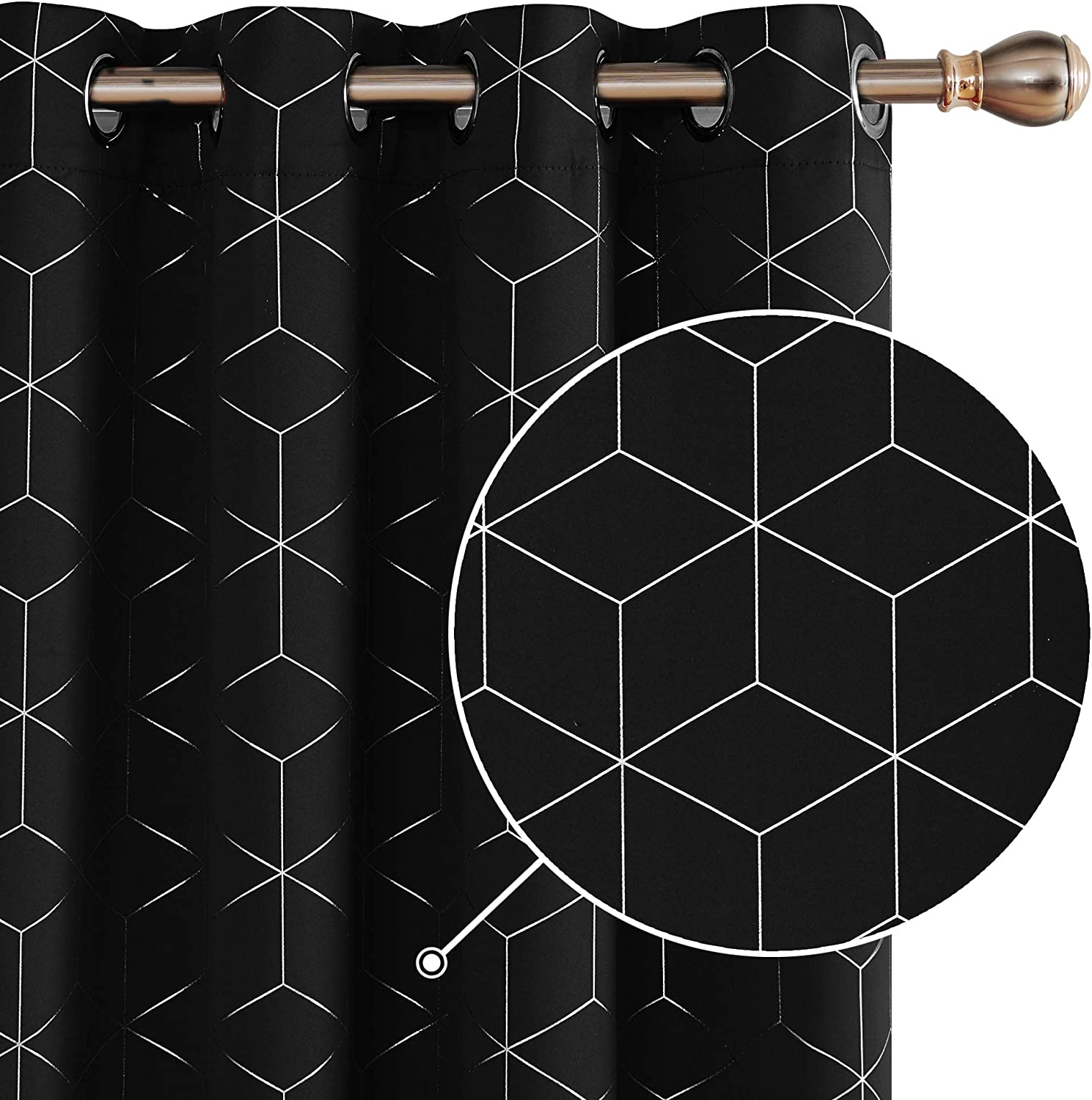 Deconovo Silver Diamond Foil Print Blackout Window Panels Grommet Thermal Insulated Curtain Width 52 Inch by Length 84 Inch Black 2 Panels