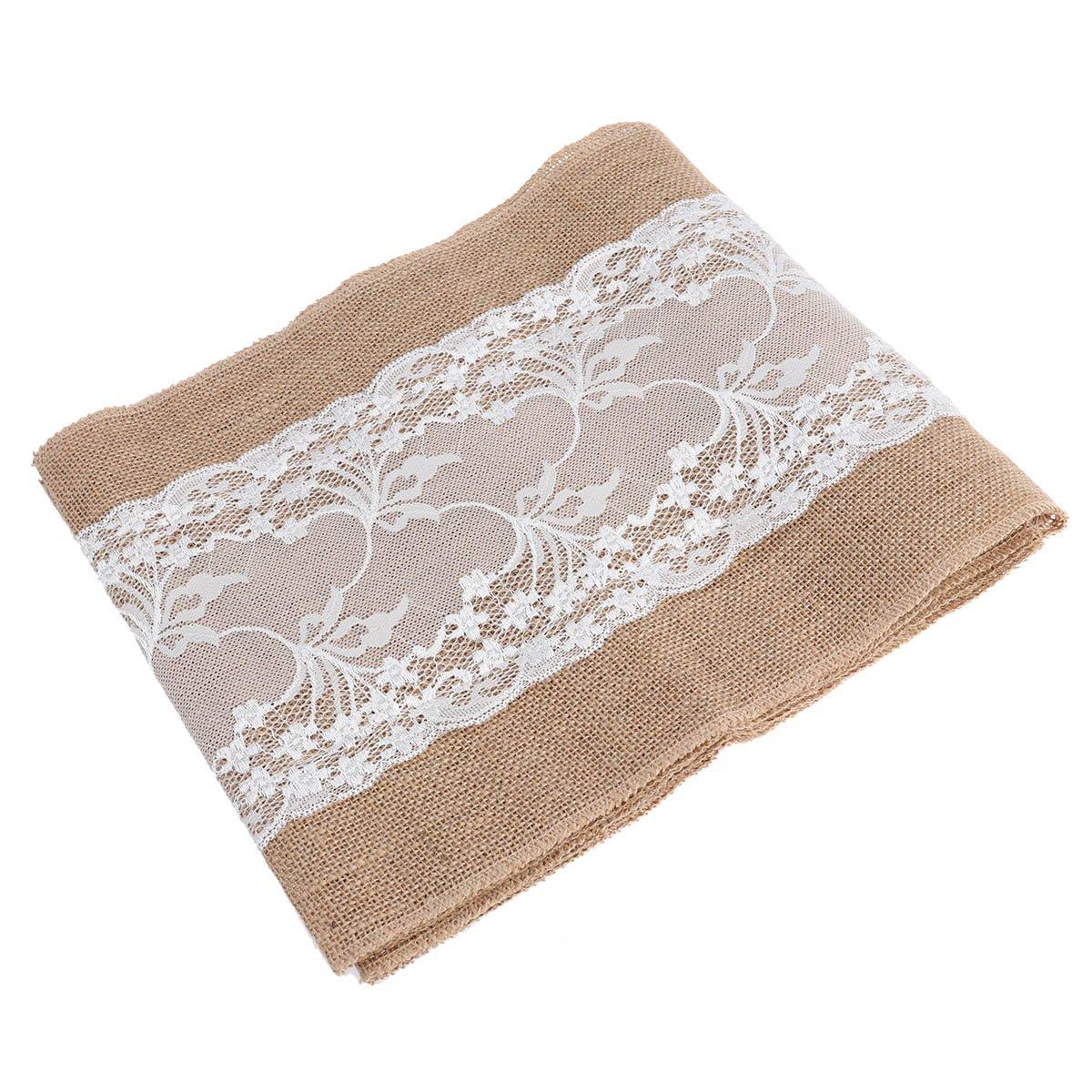 BESTONZON Corredor de mesa de arpillera con mantel de encaje blanco ...