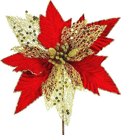 Artificial Poinsettia Fake Flowers Red Velvet Christmas Tree Wreaths Decoration