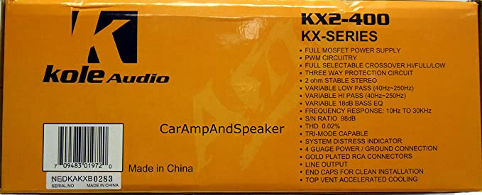Amazon.com: Kole Kx2-400 Kx-Series Amplifier (2-Channel X 85W): Car Electronics