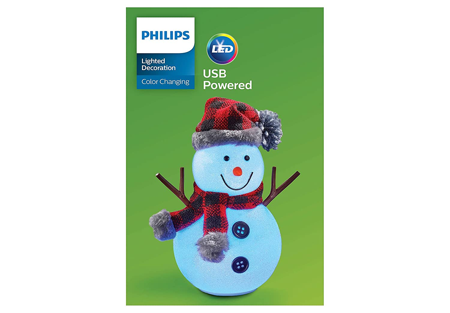 Amazon.com : Philips Christmas USB Powered LED Glitter Snowman with ...