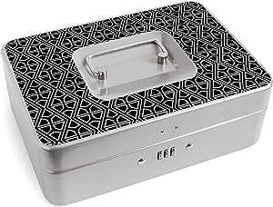 Personal Combination Lock Box | Medication Lock Box | Safe Storage | Multiple Designs (Celtic Diamond Black, Large Silver)