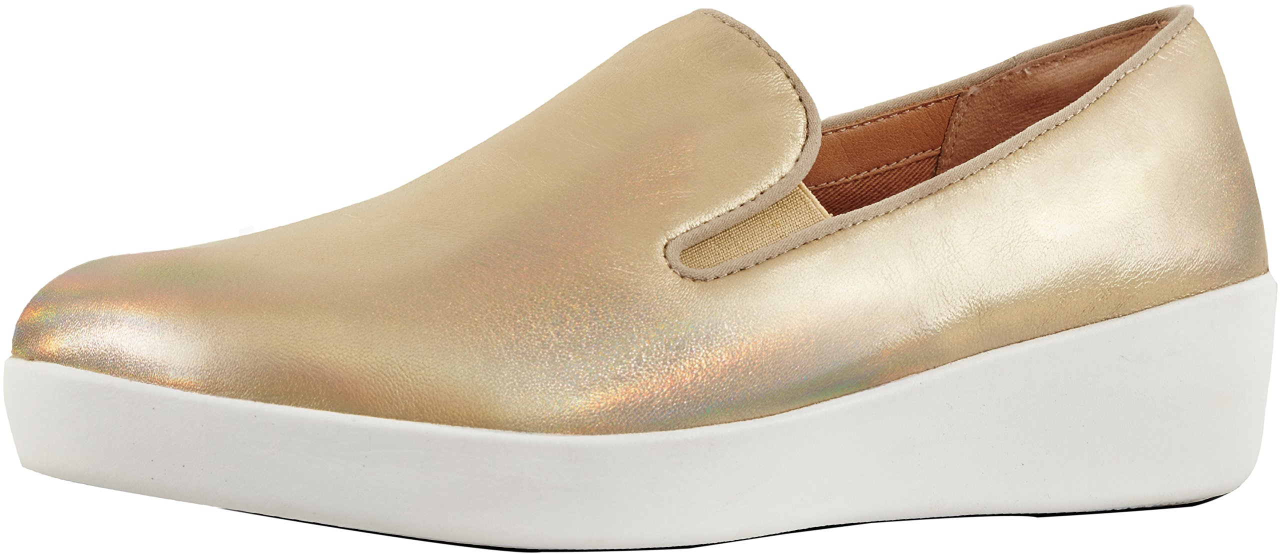 FitFlop Women's Superskate Sneaker, Gold Iridescent, 7.5 M US