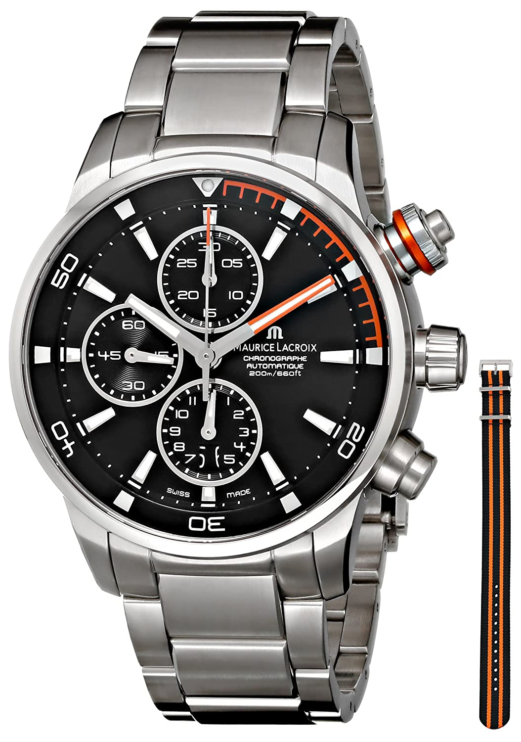 689c768c18dcb Amazon.com  Maurice Lacroix Men s PT6008-SS002-332 Pontos Analog Display  Swiss Automatic Silver Watch  Watches