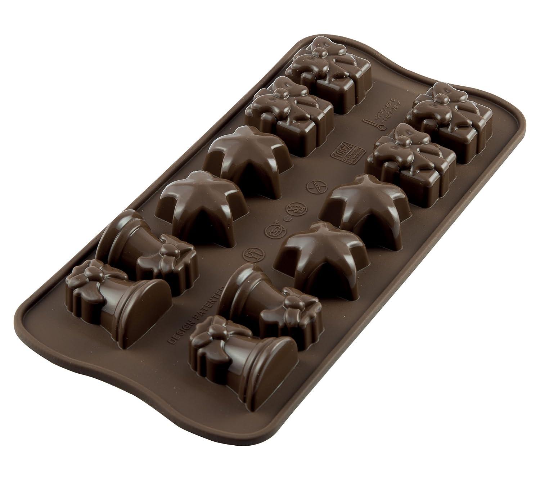SCG06 Molde de silicona con 12 cavidades tema Navidad, color marrón: Amazon.es: Hogar