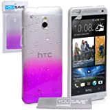Yousave Accessories Raindrop Hard Cover for HTC One Mini - Purple/Clear