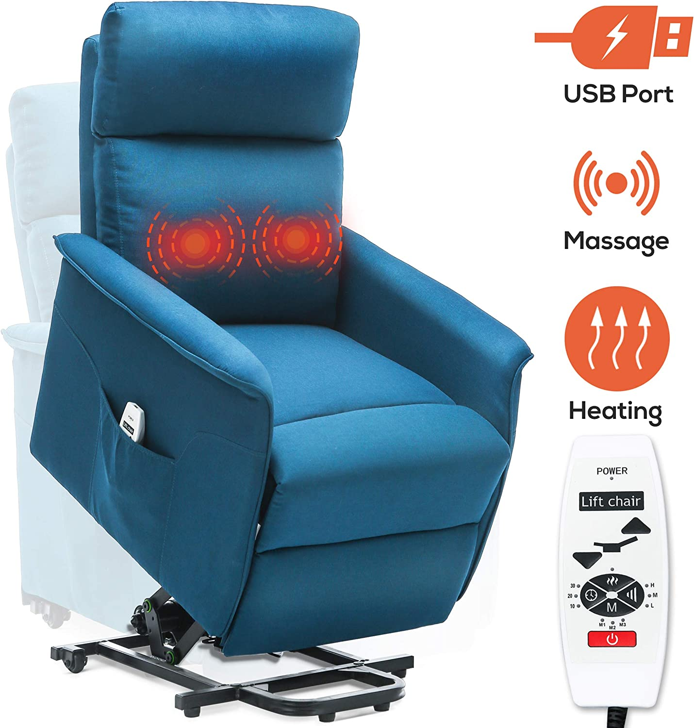 Power Lift Recliner for Elderly Electric Lift Chairs with Heat and Massage