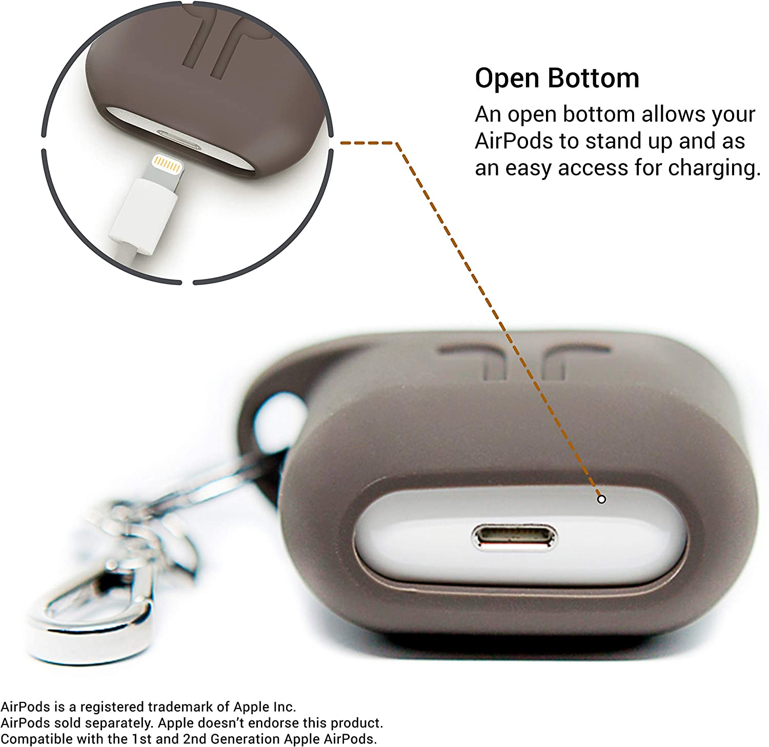 PodPocket Scoop AirPod Storage Case with Protective Translucent Silicone and Impact Protection Cocoa Gray