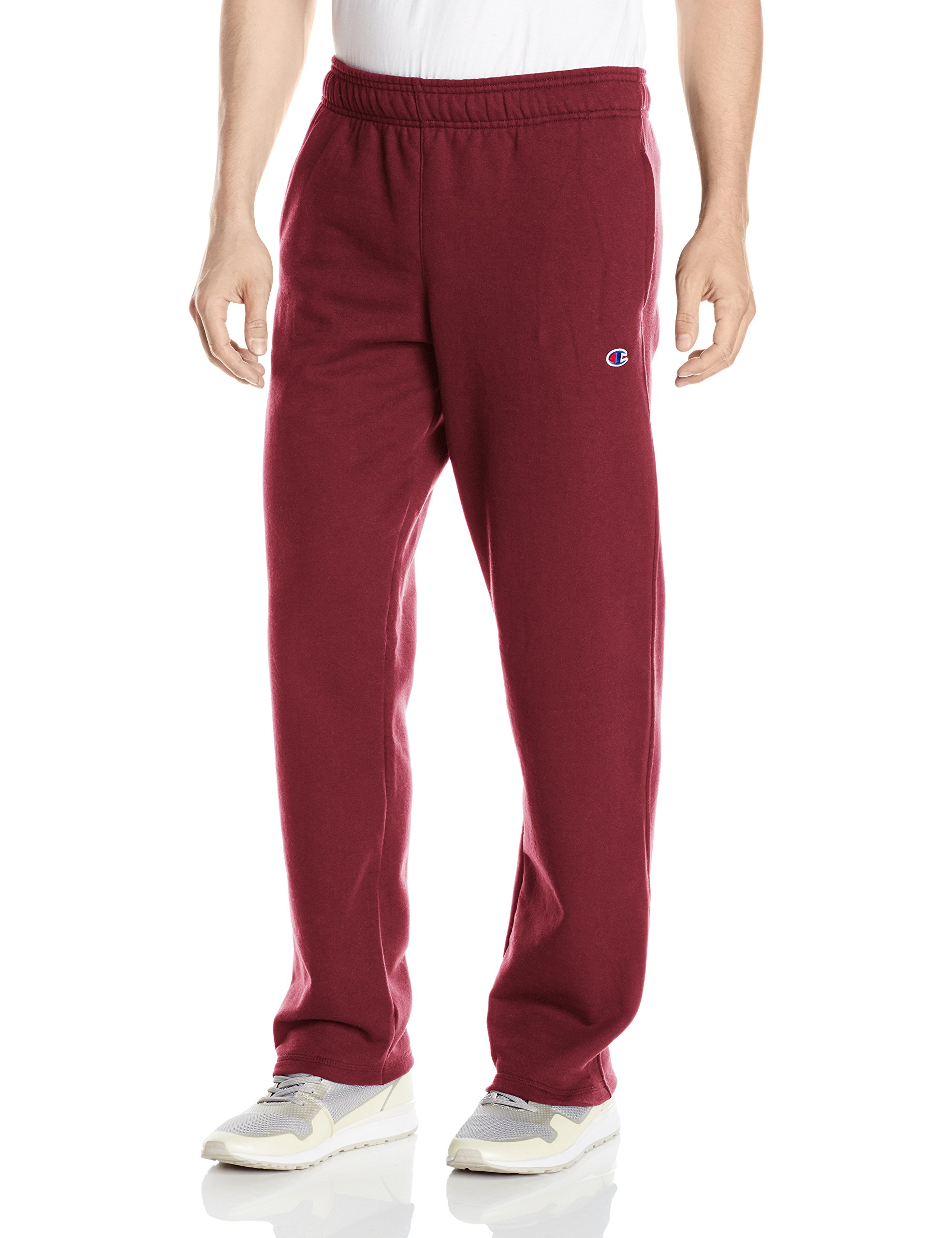 Champion Men's Powerblend Open Bottom Fleece Pant, Maroon, Large