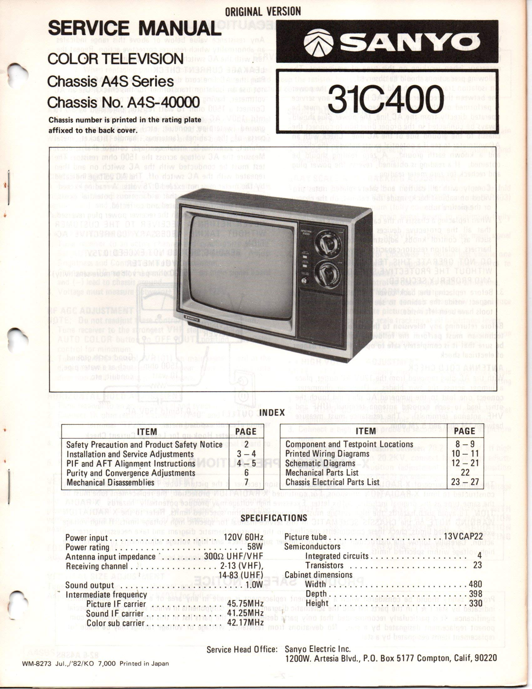 service manual for sanyo 31c400 color television tv, chassis a4s ... sanyo microwave wiring diagram  amazon.com