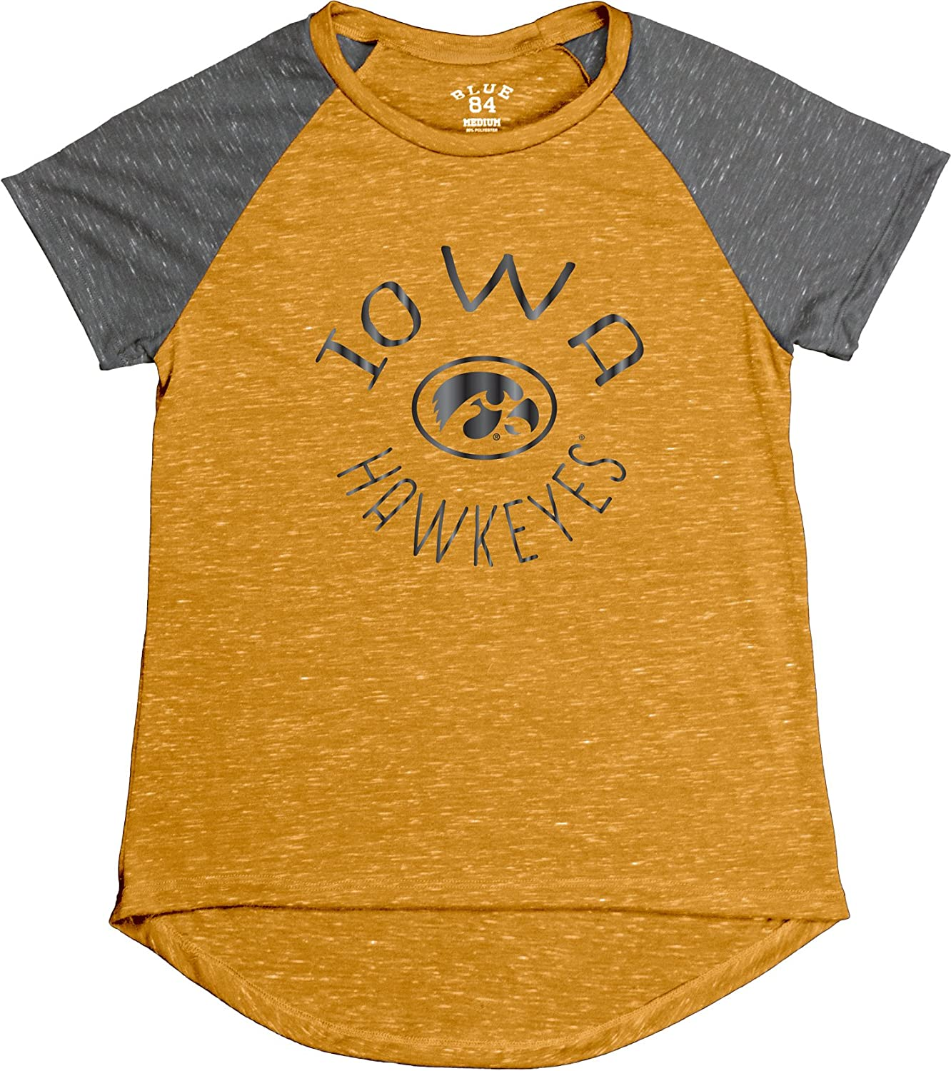 Gold Blue 84 NCAA Iowa Hawkeyes Womens Gracie Confetti Raglan Tee Small