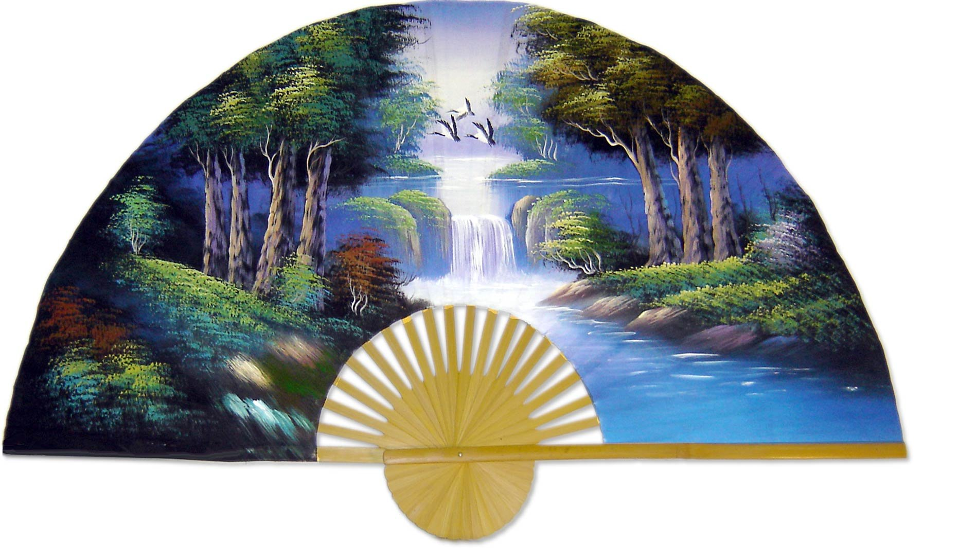 Large 60'' Folding Wall Fan -- The Wood -- Original Hand-painted Wall Art by Oriental-Decor (Image #1)